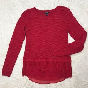 Lucky Brand XS Red Sweater with Lace Detail